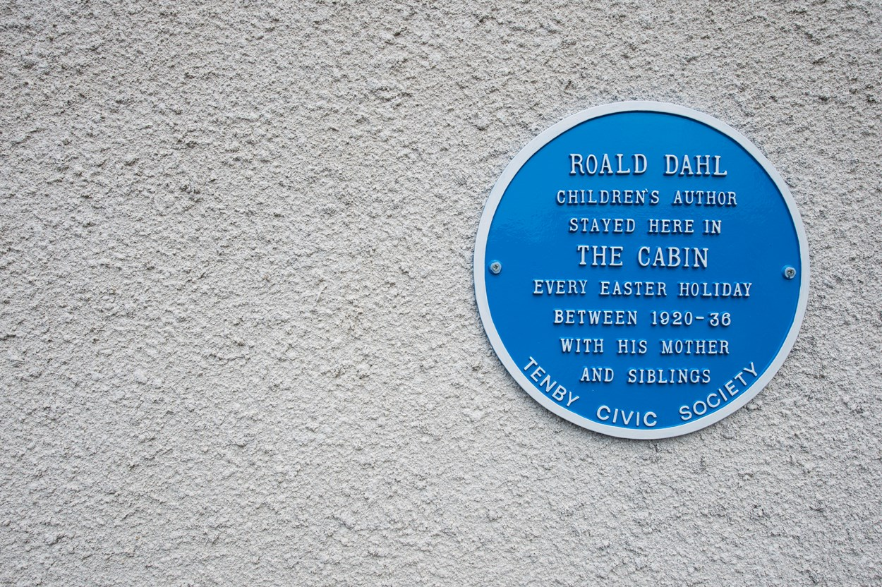 Roald Dahl historic plaque at The Cabin in Tenby